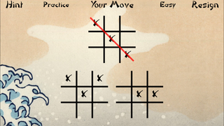 Three-board notakto game, in progress